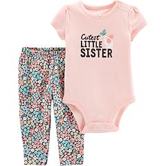 Baby Girl Carter's 'Best Little Sister' Graphic Bodysuit & Floral Leggings Set