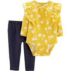 Baby Girl Carter's Floral Ruffled Bodysuit & Jeggings Set