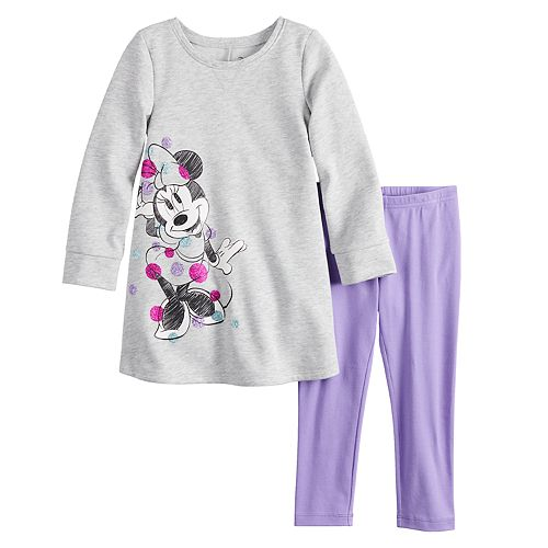 Disney's Minnie Mouse Toddler Girl French Terry Swing Dress & Leggings Set