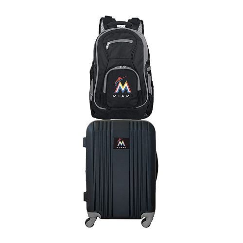 Miami Marlins Wheeled Carry-On Luggage & Backpack Set
