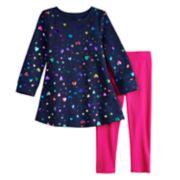 Toddler Girl Jumping Beans® Print Fleece Swing Dress & Leggings Set