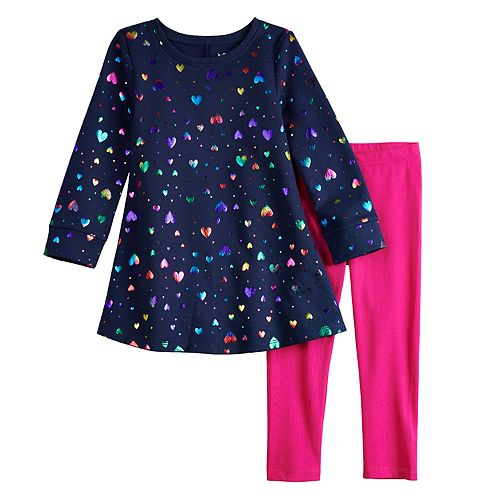 Toddler Girl Jumping Beans® Print Fleece Swing Dress & Leggings Set