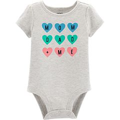 Baby Girl Carter's 'Mom Dad Me' Heart Graphic Bodysuit