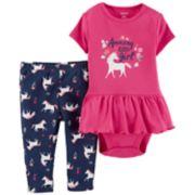 """Baby Girl Carter's """"Amazing Little Girl"""" Skirted Bodysuit & Unicorn Leggings Set"""