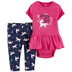 Baby Girl Carter's 'Amazing Little Girl' Skirted Bodysuit & Unicorn Leggings Set