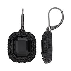 Simply Vera Vera Wang Black Cushion Halo Drop Earrings