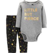 """Baby Girl Carter's """"Little But Fierce"""" Foiled Graphic Bodysuit & Leggings Set"""