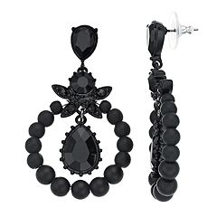 Simply Vera Vera Wang Black Bead Hoop Drop Earrings