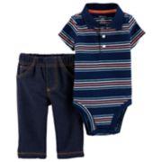 Baby Boy Carter's Striped Polo Bodysuit & Jeggings Set
