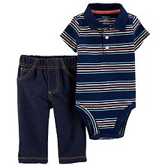 Baby Boy Carter's Striped Polo Bodysuit & Jeggings Set