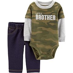 Baby Boy Carter's 'Little Brother' Camouflage Bodysuit & Jeggings Set