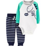 "Baby Boy Carter's ""Rawr"" Dinosaur Bodysuit & Striped Pants Set"