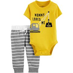 Baby Boy Carter's 'Mommy Loves Me A Ton' Construction Bodysuit & Striped Pants Set