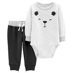 Baby Boy Carter's Striped Bear Bodysuit & French Terry Pants Set