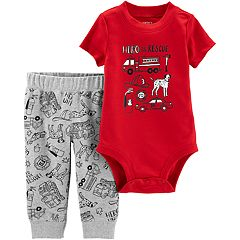 Baby Boy Carter's 'Hero To The Rescue' Bodysuit & Fire Truck Pants Set