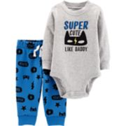 """Baby Boy Carter's """"Super Cute Like Daddy"""" Graphic Bodysuit & Pants Set"""