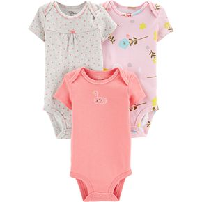 Baby Girl Little Planet Organic by Carter's 3 Pack Floral & Dotted Bodysuits