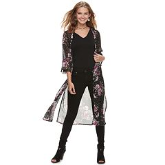Juniors' Crave Fame Polka-Dot & Floral Bell Sleeve Kimono