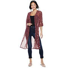 Juniors' Crave Fame Polka-Dot & Floral Bell Sleeve Kimono