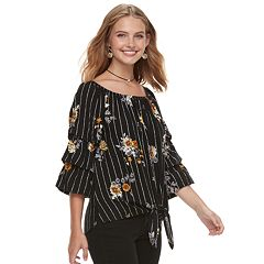 Juniors' Crave Fame Floral Off-the-Shoulder Peasant Top