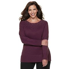 Plus Size Apt. 9® Embellished Yoke Crewneck Sweater