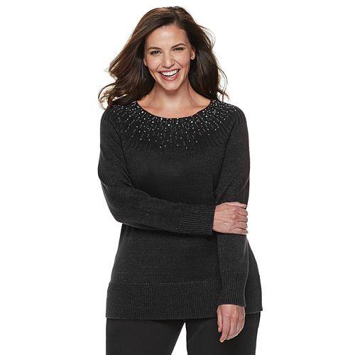 Plus Size Apt. 9® Embellished Yoke Crewneck Sweater