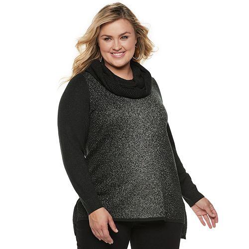Plus Size Apt. 9® High-Low Metallic Tunic Sweater