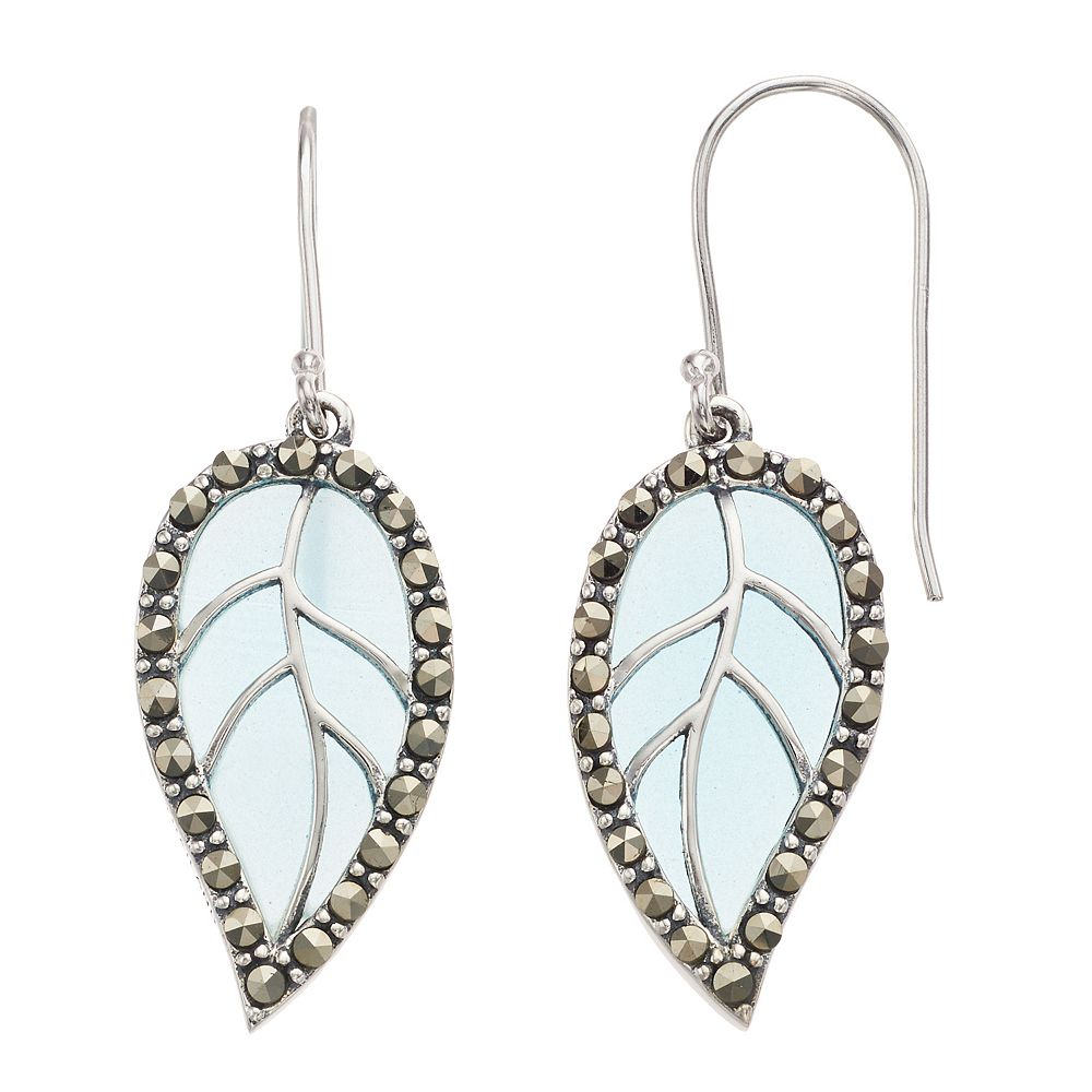Tori Hill Sterling Silver Blue Glass & Marcasite Leaf Drop Earrings