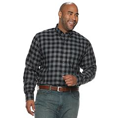 Big & Tall IZOD Classic-Fit Plaid Flannel Button-Down Shirt