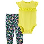 Baby Girl Carter's Flutter-Sleeve Bodysuit & Floral Pants Set