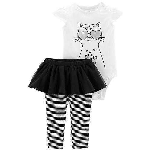 Baby Girl Carter's Cat Bodysuit & Striped Tutu Leggings