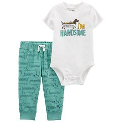 Baby Boy Carter's 'I'm Handsome' Bodysuit & French Terry Pants Set