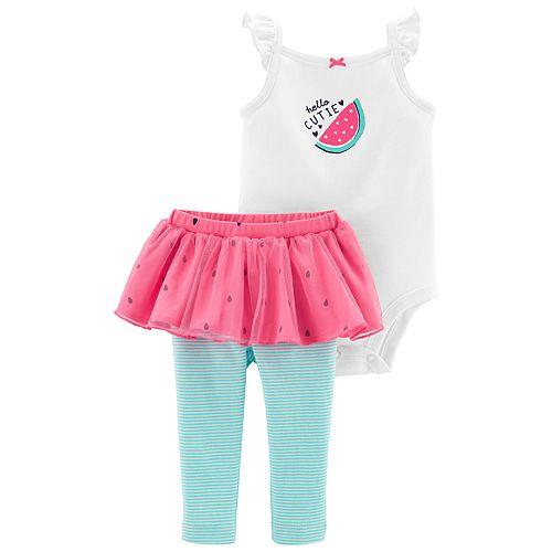 "Baby Girl Carter's ""Hello Cutie"" Watermelon Bodysuit & Tutu Leggings Set"