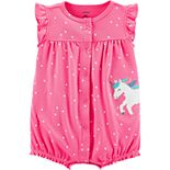 Baby Girl Carter's Polka-Dot Unicorn Romper