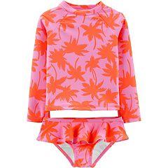 Toddler Girl OshKosh B'gosh® Palm Tree Rashguard & Ruffle Bottoms Set