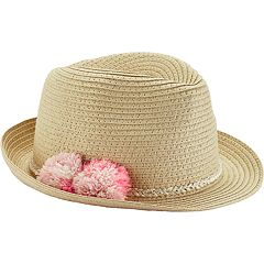 Toddler Girl Carter's Pom Pom Fedora Hat