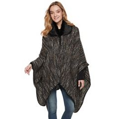 Women's Apt. 9® Space-Dyed Chevron Faux Fur Collar Ruana