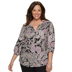 Plus Size Croft & Barrow® Splitneck Peasant Top