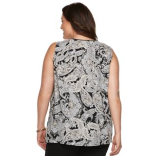 Plus Size Croft & Barrow® Print Pintuck Tank