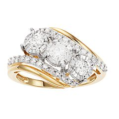 10k Gold 1 Carat T.W. Diamond 3 Stone Ring