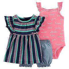 Baby Girl Carter's Flutter-Sleeve Top, Bodysuit & Chambray Shorts Set
