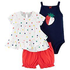 Baby Girl Carter's Polka-Dot Top, Strawberry Bodysuit & Shorts Set