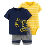 Baby Boy Carter's Construction Top, Striped Bodysuit & Shorts Set