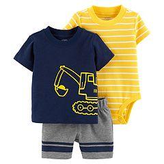 Baby Boy Carter's Construction Top, Striped Bodysuit & Shorts Set