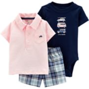 Baby Boy Carter's Vintage Cruiser Polo, Bodysuit & Shorts Set