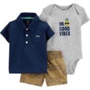 Baby Boy Carter's Good Vibes Polo, Bodysuit & Shorts Set