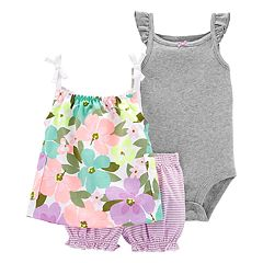 Baby Girl Carter's Floral Tank Top, Bodysuit & Striped Bubble Short Set