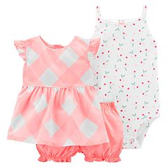 Baby Girl Carter's Plaid Top, Cherry Bodysuit & Bubble Shorts Set