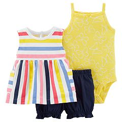 2511f41e2709bb Baby Girl Carter's Striped Tank Top, Butterfly Bodysuit & Bubble Shorts Set