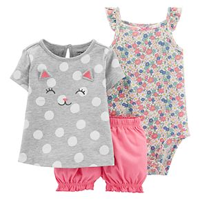 Baby Girl Carter's Polka-Dot Kitty Top, Floral Bodysuit & Bubble Shorts Set